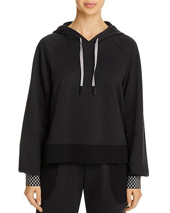 Terez - Checkerboard-Cuff Hooded Sweatshirt