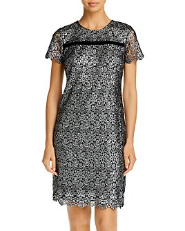 KARL LAGERFELD PARIS - Metallic Lace Sheath Dress