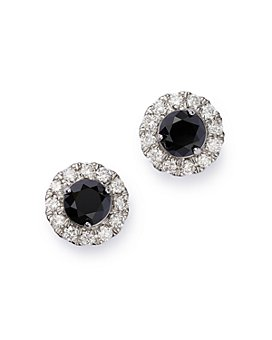 Bloomingdale's - Black & White Diamond Halo Stud Earrings in 14K White Gold - 100% Exclusive
