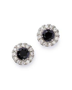 Bloomingdale's - Black & White Diamond Halo Stud Earrings in 14K White Gold - 100% Exclusive