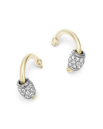 Adina Reyter - 14K Yellow Gold & Sterling Silver Pavé Diamond Barrel Huggie Hoop Earrings