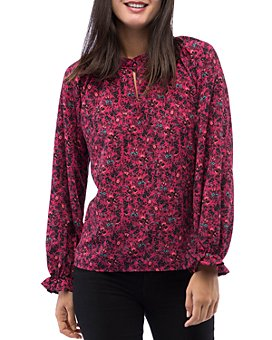 B Collection by Bobeau - Regina Floral-Print Keyhole Blouse