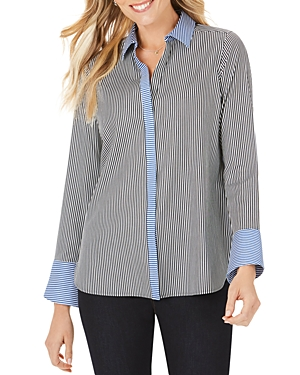 Foxcroft Kyla Non-Iron Stretch Color-Blocked Stripe Tunic