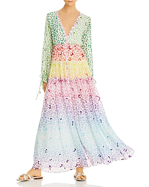 Rococo Sand Dresses AVANA COLOR-BLOCKED LEOPARD-PRINT MAXI DRESS