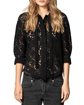 Zadig & Voltaire - Touch Tie-Neck Lace Shirt