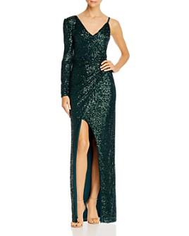 BCBGMAXAZRIA - Asymmetric Sequin Gown