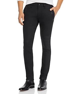 John Varvatos Jeans WIGHT SKINNY FIT MOTO JEANS IN BLACK