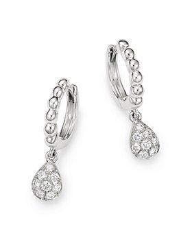 Bloomingdale's - Diamond Charm Huggie Hoop Earrings in 14K White Gold, 0.20 ct. t.w. - 100% Exclusive