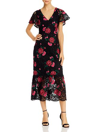 Shoshanna - Audette Rose-Embroidered Lace Midi Dress