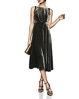 REISS - Eudora Velvet Midi Dress