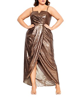City Chic Plus - Sleeveless Sequined Maxi Dress
