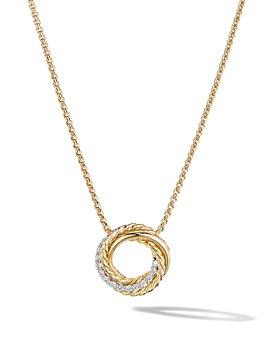 "David Yurman - 18K Yellow Gold Crossover Mini Pendant Necklace with Diamonds, 17"""