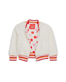 Isaac Mizrahi Loves Sesame Street - Girls' Faux Fur Bomber Jacket, Little Kid - 100% Exclusive