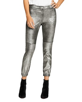 HALSTON - Metallic Suede Leggings