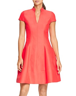 HALSTON - Cap-Sleeve Skater Dress