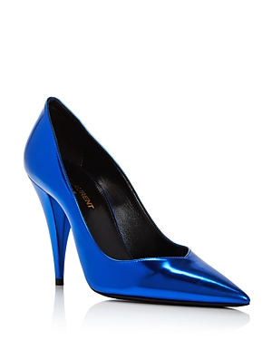 Saint Laurent Pumps WOMEN'S KIKI 100 METALLIC POINTED-TOE PUMPS