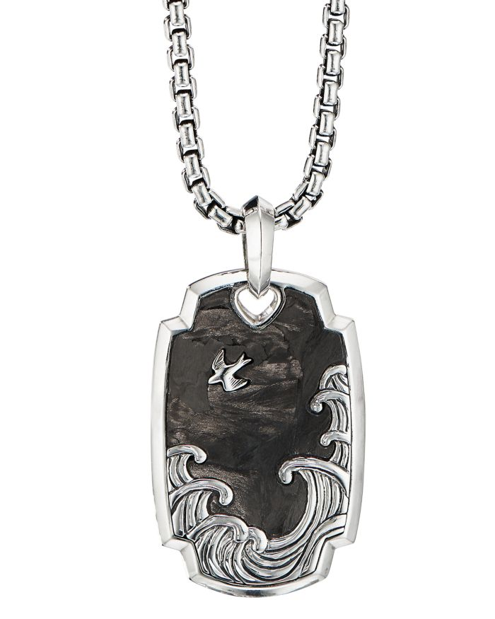 David Yurman Sterling Silver Waves Pendant with Forged Carbon    Bloomingdale's
