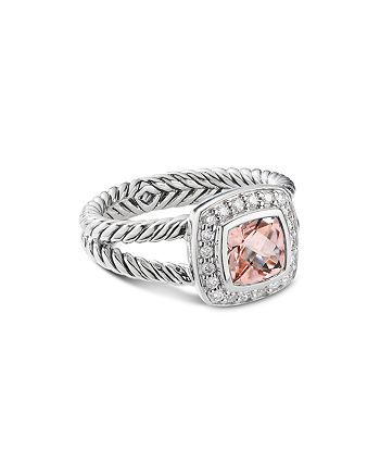David Yurman - Sterling Silver Petite Albion Ring with Morganite & Pavé Diamonds