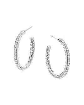 David Yurman - Sterling Silver Hoop Earrings with Pavé Diamonds