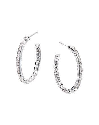 David Yurman - Sterling Silver Small Hoop Earrings with Pavé Diamonds