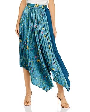 Amur Pleated Floral Printed Midi Skirt
