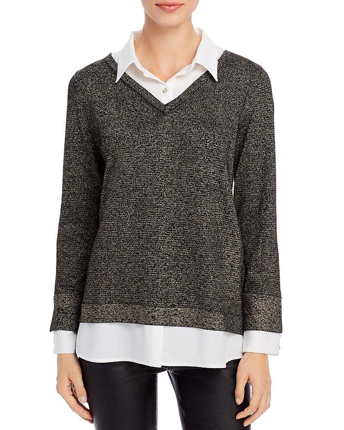 KARL LAGERFELD PARIS - Metallic Layered-Look Sweater