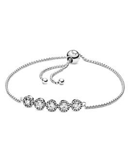Pandora - Sterling Silver & Cubic Zirconia Round Sparkle Slider Bracelet