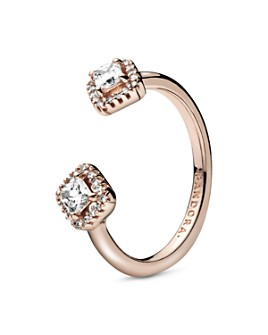 Pandora - Pandora Sterling Silver or 14K Rose Gold Plated Square Sparkle Open Ring