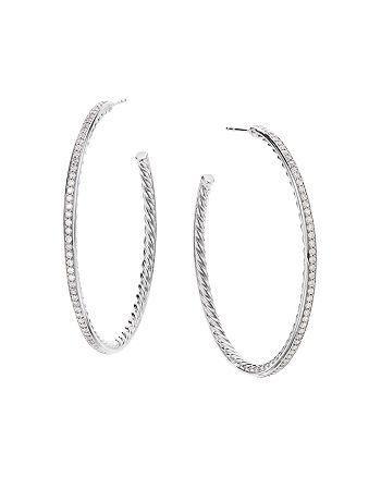 David Yurman - Sterling Silver Large Hoop Earrings with Pavé Diamonds
