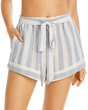 Eberjey Umbrella Stripes Swim Cover-Up Shorts