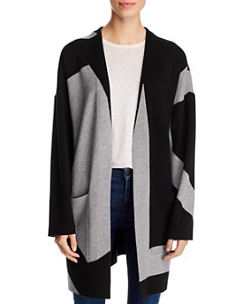 Avec - Color-Block Long Open Cardigan