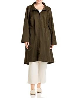 Eileen Fisher Plus - High/Low Zip-Front Coat