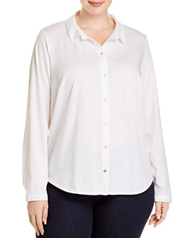 Eileen Fisher Plus - Classic Knit Button-Down Top