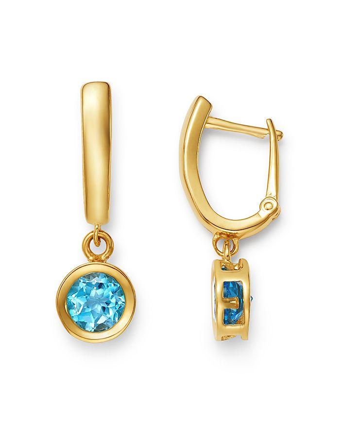 Bloomingdale's - Blue Topaz Bezel Hinged Hoop Earrings in 14K Yellow Gold - 100% Exclusive