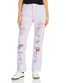 Alice and Olivia - Genevive Extreme Distressed Girlfriend Jeans in Lavender