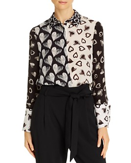 Alice and Olivia - Willa Heart Print Silk Blouse