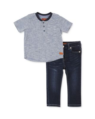 7 For All Mankind Baby Girls French Terry Fashion Top and Denim Jean Set