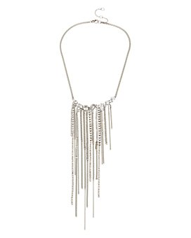 "ALLSAINTS - Stone Fringe Statement Necklace, 15""-17"""