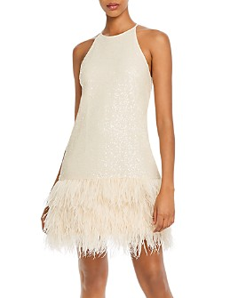 Lucy Paris - Margo Faux-Feather Trim Sequined Dress - 100% Exclusive