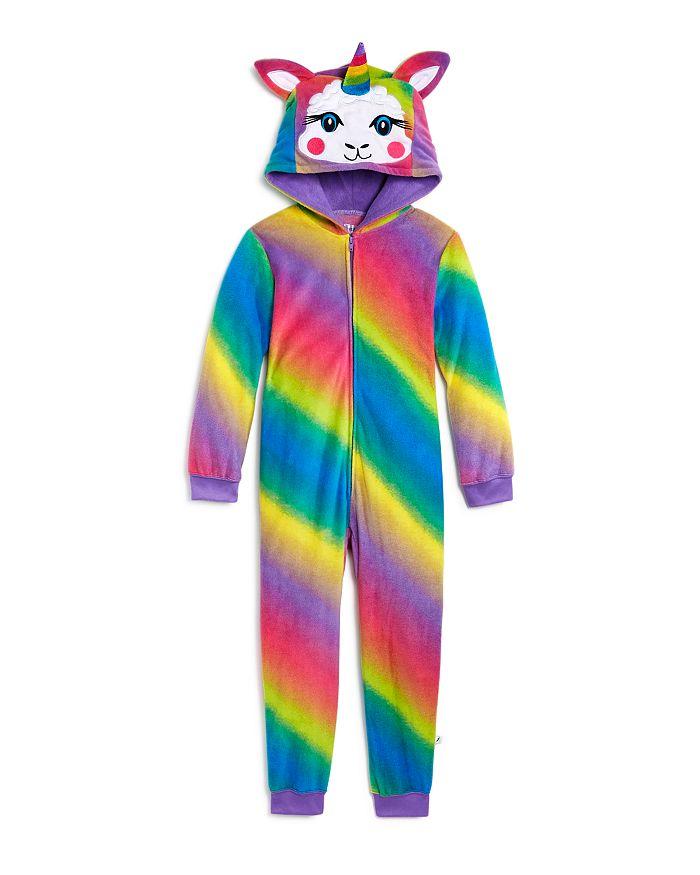 US Angels - Girls' Rainbow Llama One-Piece Pajamas - Little Kid, Big Kid