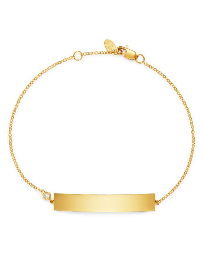 Bloomingdale's Diamond ID Bracelet in 14K Yellow Gold, 0.03 ct. t.w. - 100% Exclusive  | Bloomingdale's