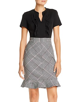 KARL LAGERFELD PARIS - Ruffled Plaid Combo Dress