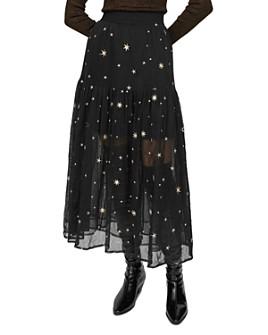 Maje - Jistar Embroidered Tulle Midi Skirt