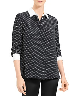 Theory - Polka-Dot-Printed Shirt