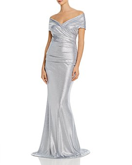 Eliza J - Metallic Off-the-Shoulder Gown