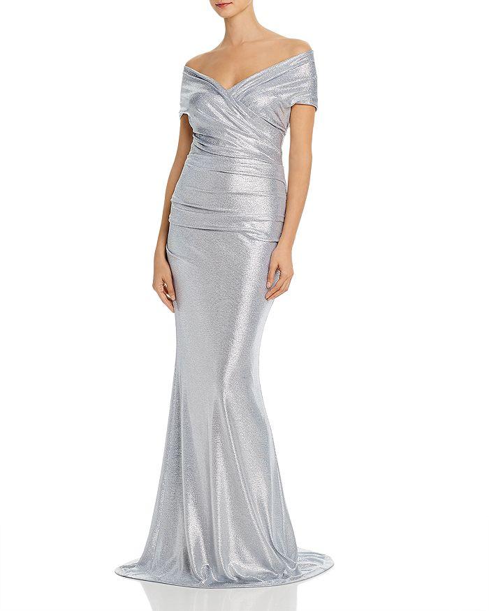Eliza J - Metallic Off-the-Shoulder Gown