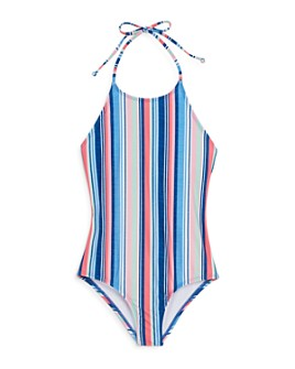 Splendid - Girls' Striped Halter One-Piece Swimsuit - Little Kid, Big Kid