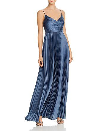 BCBGMAXAZRIA - Pleated Satin Gown - 100% Exclusive