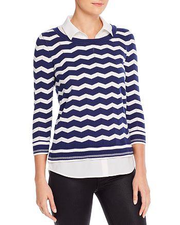 KARL LAGERFELD PARIS - Striped Shirt-Effect Underlay Sweater