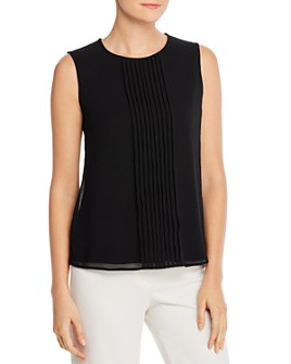 Calvin Klein - Pleated Sleeveless Keyhole Top